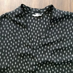 Anthro Pleione Patterned Black Blouse